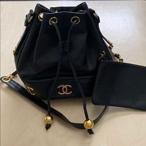 Authentic Chanel Caviar Black Leather Bucket Bag